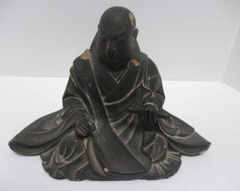 Antique Early Meij Period Finely Detailed Carved Wood & Lacquer Japanese Figure.