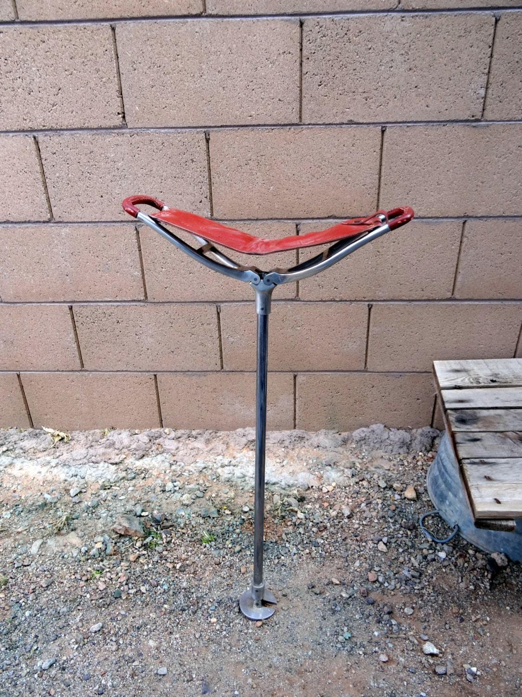 Leather Shooting Stick Folding Seat Walking Stool Chair