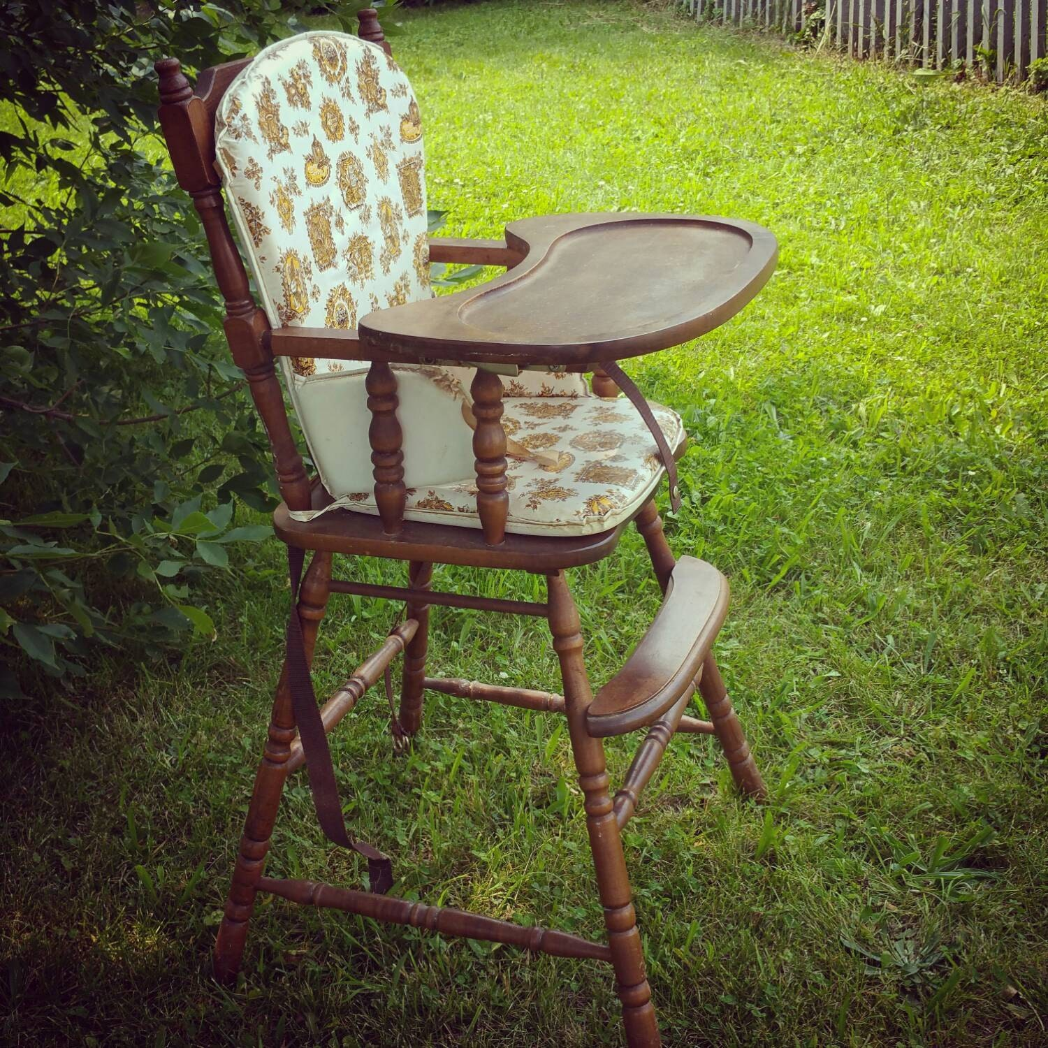 vintage wooden baby high chair with original plastic cover