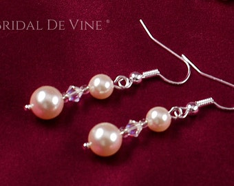 Pretty Dangle Pearl & Crystal Earrings made with CRYSTALLIZED™ - Swarovski Elements