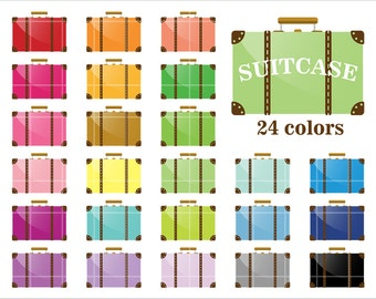Suitcase Icon, PNG, JPEG, Rainbow Color, Travel Clipart, Printable Digital Paper, Instant download