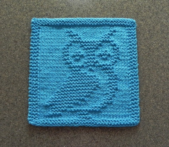 OWL Knit Dishcloth Wash Cloth Teal Turquoise 100% Cotton