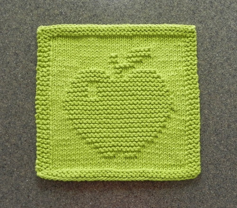APPLE Knit Dishcloth or Wash Cloth Lime Green 100% Cotton