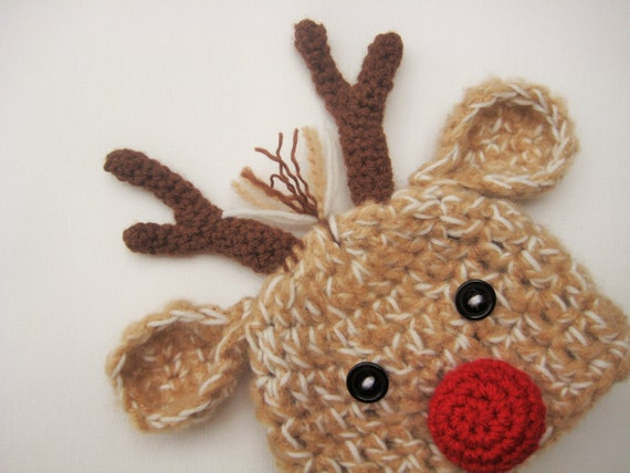 Santas Reindeer Hat Newborn Reindeer Hat Boy or Girl