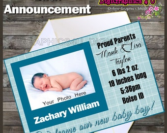 Printable Personalized Baby Boy Birth Announcement Digital File