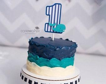 Whale cake topper, whale smash cake topper, chevron cake topper, striped cake topper
