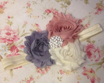 The Zoey shabby trio headband for baby, toddler, or child, vintage headband, cream, pink, and gray headband