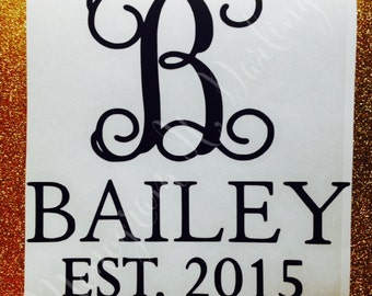 Last Name Decal Sticker with Monogram