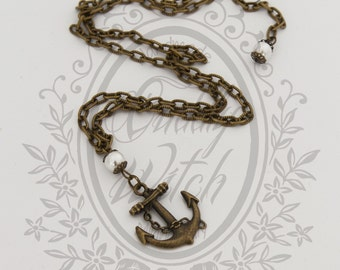 Necklace with antique brass anchor pendant and white acrylic pearls - pin up rockabilly retro kawaii lolita vintage