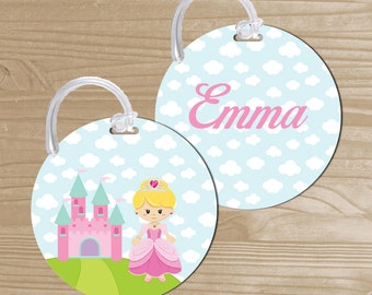 Personalized Bag Tag - Princess Backpack Name Tag - Princess Bag Tag - Princess Bag Name Tag - Round Bag Tag - Kids' Luggage Tag