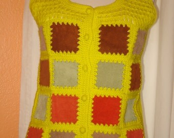 1970's Color Scheme knitted Vest Yellow Knit & Suede Block Size Medium Yellow, Red, Orange, Brown Tan Aware Brand