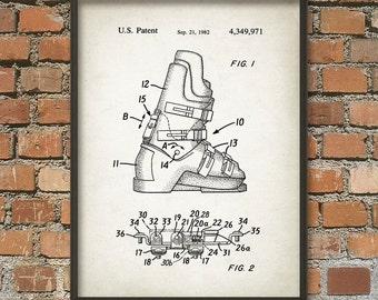 Ski Boots Patent Print - Winter Sports - Patent Wall Art Poster