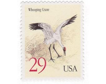 10 Unused Vintage Postage Stamps - 1994 29c Whooping Crane - Item No. 2868