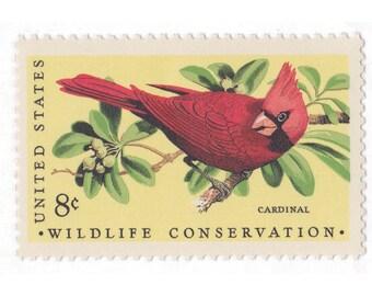 1972 8c Wildlife Conservation - Cardinal - 10 Unused Vintage Postage Stamps - Item No. 1465