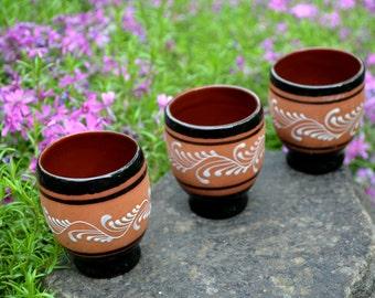 Vintage Ceramic shots, stopka set of 3 pcs, VODKA GLASSES, ponies, liquor glass, Brown Pottery Glasses, USSR era Pottery
