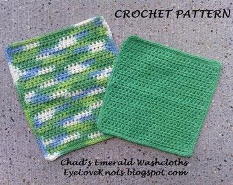 CROCHET PATTERN - Chad's Emerald Washcloth in Two Sizes - Washcloth Crochet Pattern - Easy Washcloth Crochet Pattern