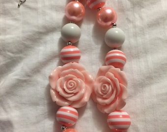Double Flower chunky beaded necklace