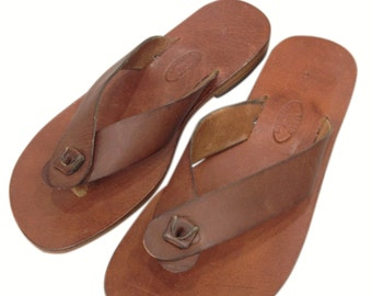 "ZETHOS: All Leather Flip Flop Handmade leather sandals ""custom size available"""