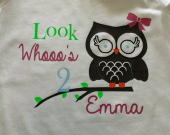 Look Whooo's (age) custom owl t-shirt // any color design