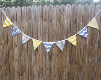 Fabric Banner Bunting - Pennant Flags, Birthday Banner, Photo Prop, Bridal Shower, Baby Shower, Yellow and Gray