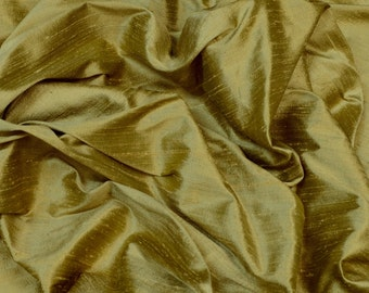 "Iridescent Olive Gold Dupioni Silk, 100% Silk Fabric, 54"" Wide, By The Yard (S-255)"