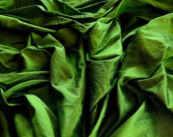 "Iridescent Fern Green Dupioni Silk, 100% Silk Fabric, 44"" Wide, By The Yard (S-178)"