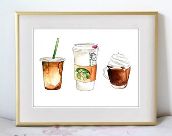 Watercolor Painting Print art piece, 'Coffee Addict', Pastry kitchen decor and wall art
