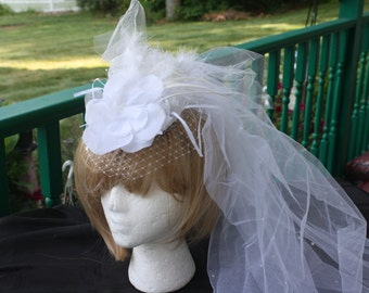 Bridal Feathered Fascinator with removable blusher/veiling