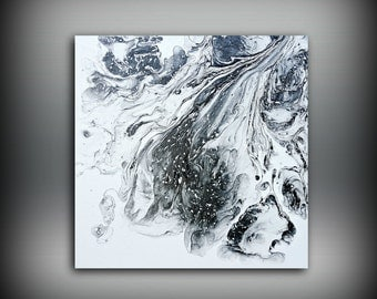 Black and White Painting 10x10 Ready to Ship Abstract Painting Acrylic Painting Small Wall Art Canvas Modern Home Decor Wall Hanging