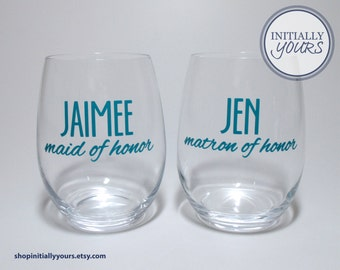 Personalized Bridal Party Stemless Wine Glass,  Maid of Honor Glass, Matron of Honor Glass, Bridesmaid Wine Gift, Bridal Party Wine Glass