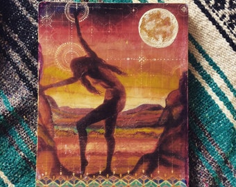 Hand painted original wood print Full Moon Goddess of Earth and Stars