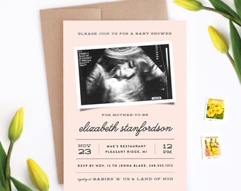 Photo Baby Shower Invitation - Simple Strokes