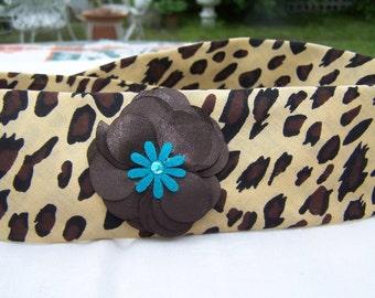 Leopard print bandana head band