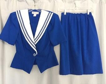 Cobalt Blue Suit Jacket Pencil Skirt Set Vintage White Lapel Polka Dot Short Sleeve Chel'Sea L'td. USA Women's 6 Petite or Small