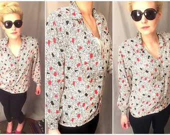 Red White Black Shirt Blouse Vintage Sleeve Button White Collared Top Women's 12 or large
