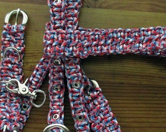Liberty Paracord Horse Tack Red White and Blue complete set