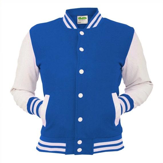 Royal Blue Varsity Jacket College Letterman Coat Baseball Top