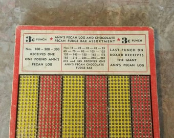 Vintage 3 Cents Punch Board Game Unpunched