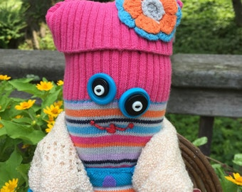 Stuffed Sock Critter; Quirky Handmade Sock Animal Made from Recycled Materials ; OOAK; Baby-Safe; OOAK (Giblette)