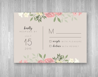 3.5x5 Printable Wedding Invitation Customizable RSVP Card - Dainty Pink Floral