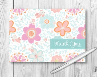 Personalized Thank You Cards | Fresh Flowers Stationery Note Card Set | Monogrammed or as Thank You Cards