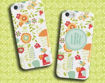 Enchanted Garden Custom Phone Case | Available Monogrammed | Personalized Smartphone Case | Custom iPod Case