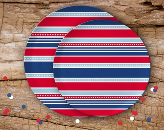 "Stars & Stripes Melamine Plate | Available in 2 Sizes: 8"" and 10"" 