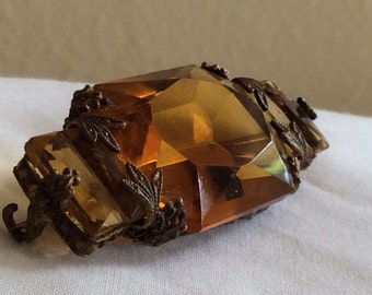 Vintage Art Nouveau Victorian Citrine Topaz Faceted Glass Brooch