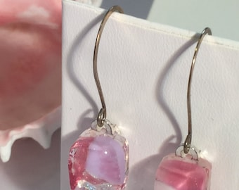 Fused Art Glass Earrings - Pink