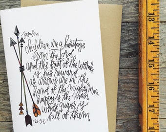 Christian Father's Day card, psalm 127, children are a heritage from the Lord, quiverfull card, arrows