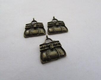 3 Petite Purse Charm Pendant,Antique Bronze, Purse Pendant,Charm Pendant