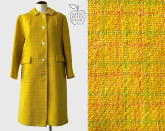 Vintage 1960s Campus Sweetheart Plaid Wool Coat - Lemon Citrine Plaid - College Towne - M to L