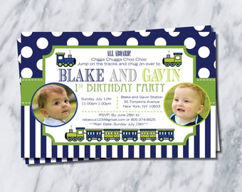 Train Birthday Invitation with PHOTO...1st, 2nd or even 3rd even for twins