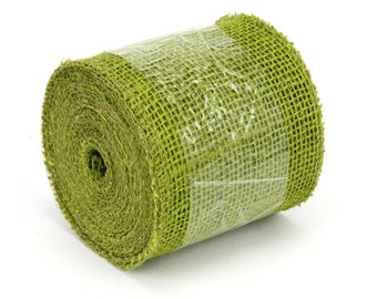 """Apple Green 4"""" by 10 yards burlap ribbon, great for rustic decorations, DIY, country look. Available in other colors. (BRH04-60)"""
